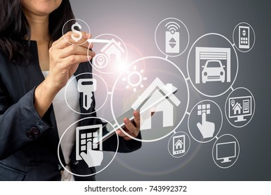 Business woman in formal wear working  with smart home assistant property icon on futuristic virtual screen / Modern real estate concept