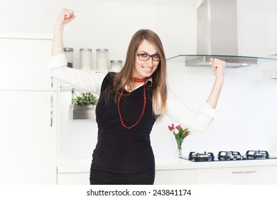 Business woman getting ready for work