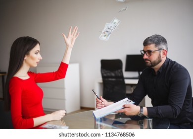 Business. Business Woman Gives Money to Men. Woman Dressed in Red Dress Gives Bribe. Business Man In Gray Jacket Gets Bribe. High Resolution.