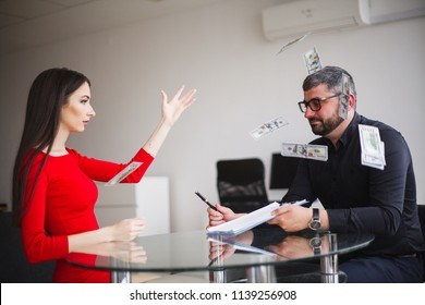 Business Woman Gives Money to Men. Woman Dressed in Red Dress Gives Bribe. Business Man In Gray Jacket Gets Bribe. High Resolution.