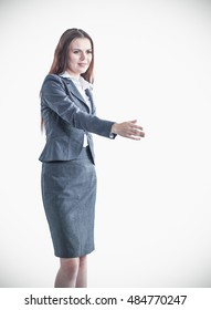 Business woman giving hand for handshake, isolated over white background