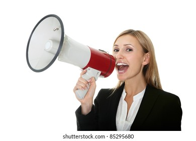 Business woman giving instructions with  megaphone
