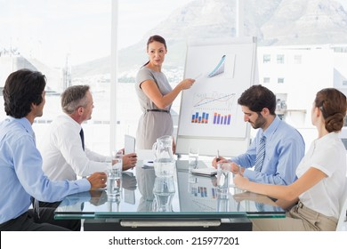 Business woman giving a presentation to her team