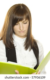 Business woman with a green folder. Reading.