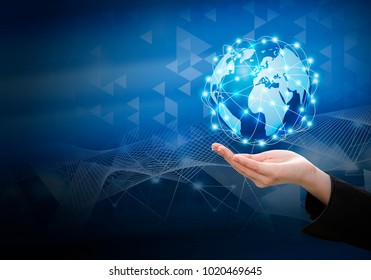 Business woman hand holding global network connection design with copy space
