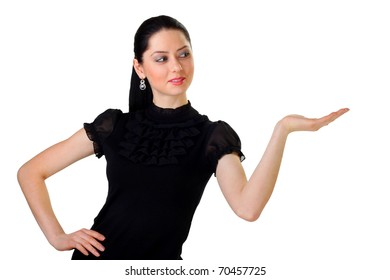Business woman with hand on something imaginary. Isolated white background