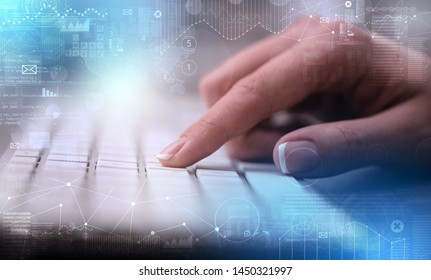 Business woman hand typing on keyboard with international system concept