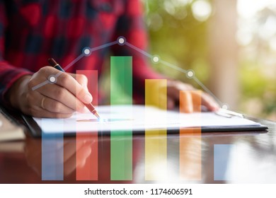 business woman hand working with new modern  and business strategy as concept
