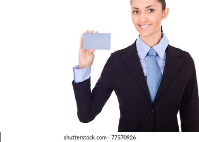 business woman handing a blank business card over white