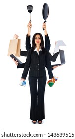 Business woman handling multi-tasks - isolated on white.