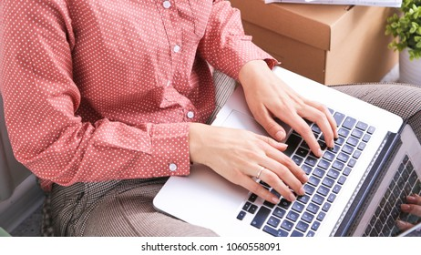 Business woman hands busy using laptop at office