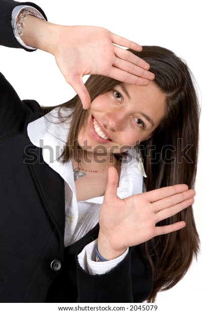 Business Woman with hands by her face over a white background