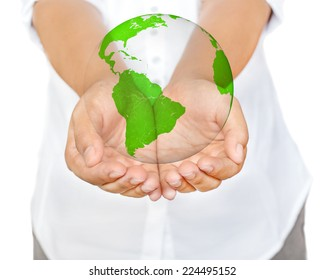 Business woman hands holding globe, Save the Earth Concept