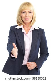 business woman handshake. Isolated over white background