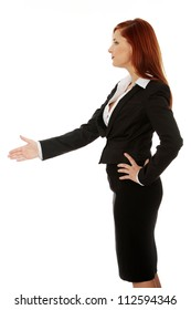Business woman handshaking - isolate dover a white background