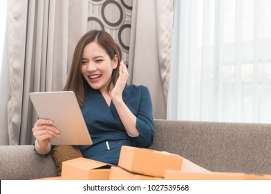 Business woman is happy with her online order for her online business