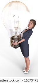 Business woman has big bright idea light bulb for successful new startup