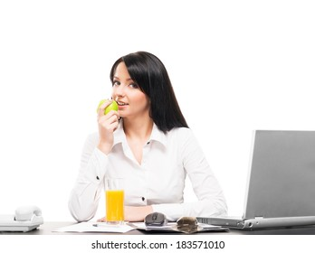 Business woman has a vegetarian lunch in office isolated on white