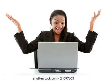 Business woman having success online on her laptop - isolated over a white background