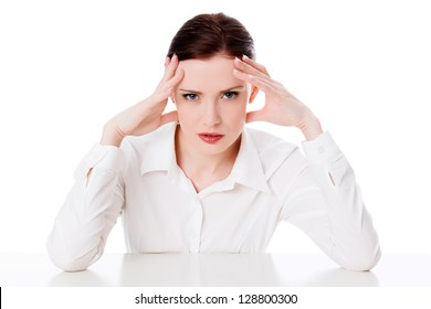 Business woman with headache, white background