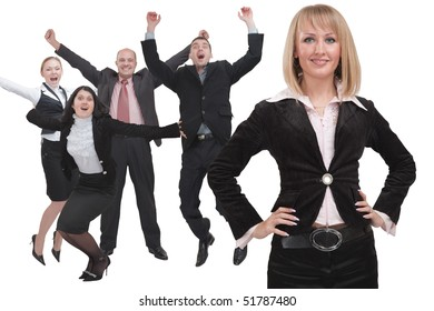 Business woman and her team formed of businessmen and businesswomen are happy success.