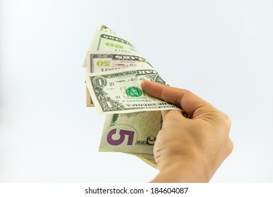 business woman hold us dollars bank note in hand