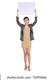 business woman  holding a big blank card