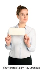 Business woman holding a blank card. Isolated on white background