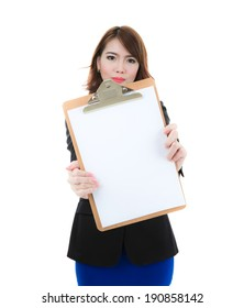 Business woman holding blank paper on clipboard isolated over white background