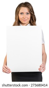 Business woman holding a blank poster. On a white background