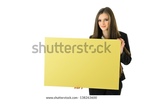 Business Woman Holding Blank Yellow Board (below shoulder)