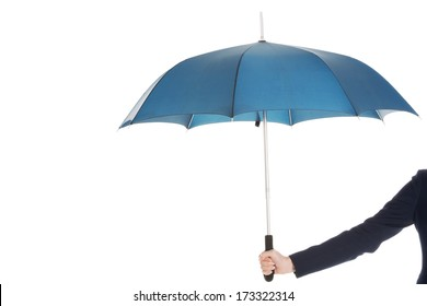 Business woman is holding blue umbrella. Isolated on white.
