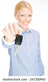 Business woman holding Car keys