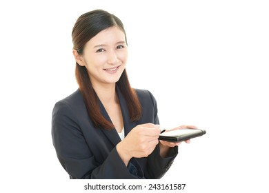 Business woman holding business card