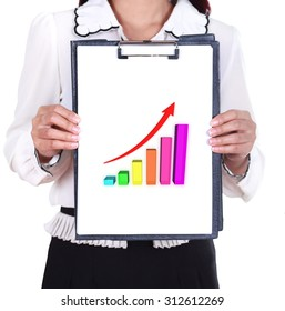 business woman holding a clipboard with business graph chart