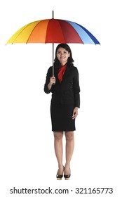Business woman holding colorful umbrella isolated over white background
