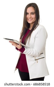 business woman holding a digital tablet, isolated on a white background
