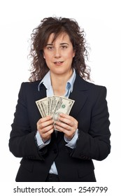 Business woman holding a fan of money over a white background