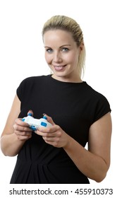 business woman holding a game controller playing a game