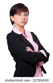 Business woman holding her arms over her chest