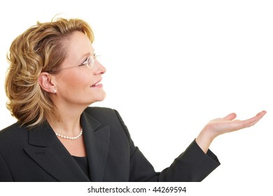 Business woman holding up her empty hand