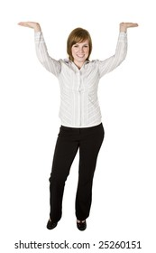 Business woman holding or lifting something above her head