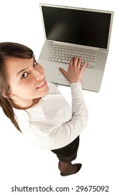 Business woman holding notebook
