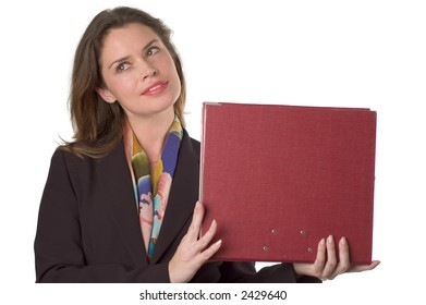 business woman holding papers in left hand