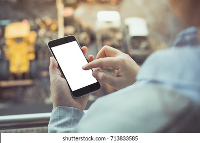 Business woman holding phone using gadget smart phone for work check email play stock market connection social media marketing isolated