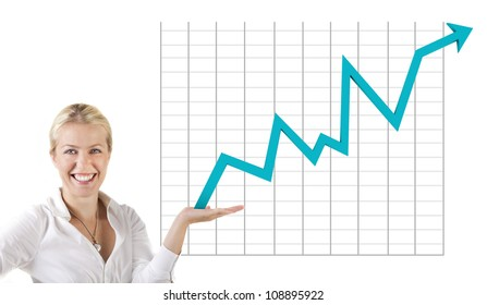 Business woman holding an rising arrow graph