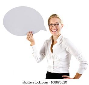 Business woman holding a speech bubble