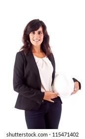 Business woman holding an white helmet