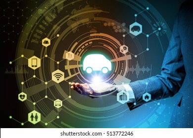 business woman holds symbolic icon of on her hand, technological abstract, Internet of Things