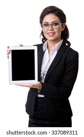 the business woman holds the tablet in hand